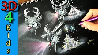 How to draw Rudolph the Red Nosed Reindeer - Christmas drawing for kids
