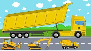 Yellow Construction Machinery Like Excavator, Mixer & Dump Truck | Tracked Vehicles | Bajka