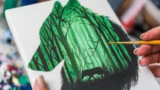 Multiple exposure of the Forest Wolf - Acrylic painting / Homemade Illustration (4k)