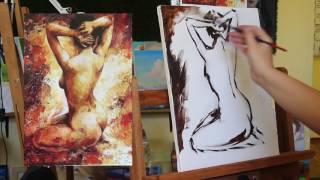 🔴Уроки рисования маслом | рисование маслом обнаженной натуры