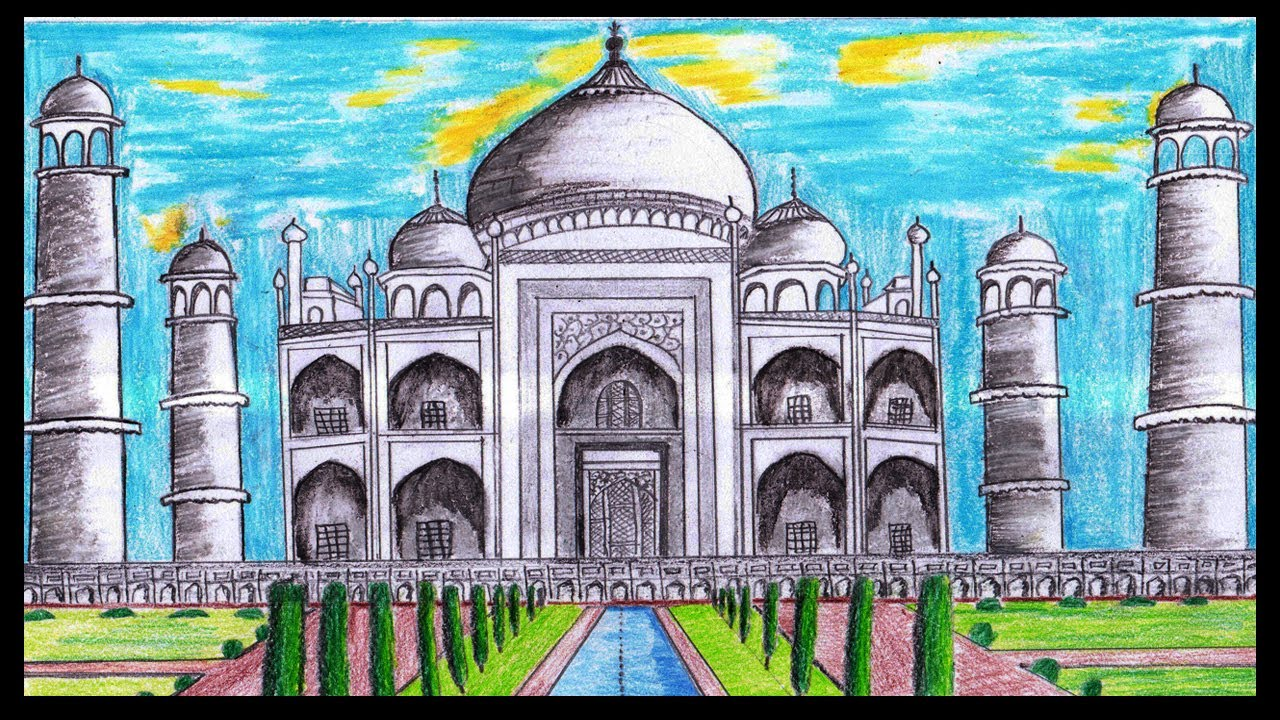 how to draw taj mahal easily