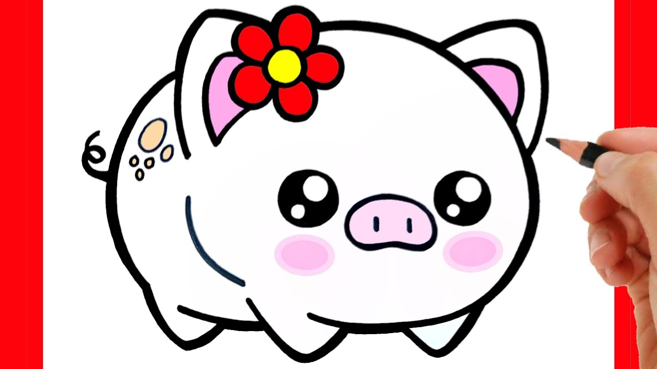 HOW TO DRAW A CUTE PIG EASY STEP BY STEP - KAWAII DRAWINGS