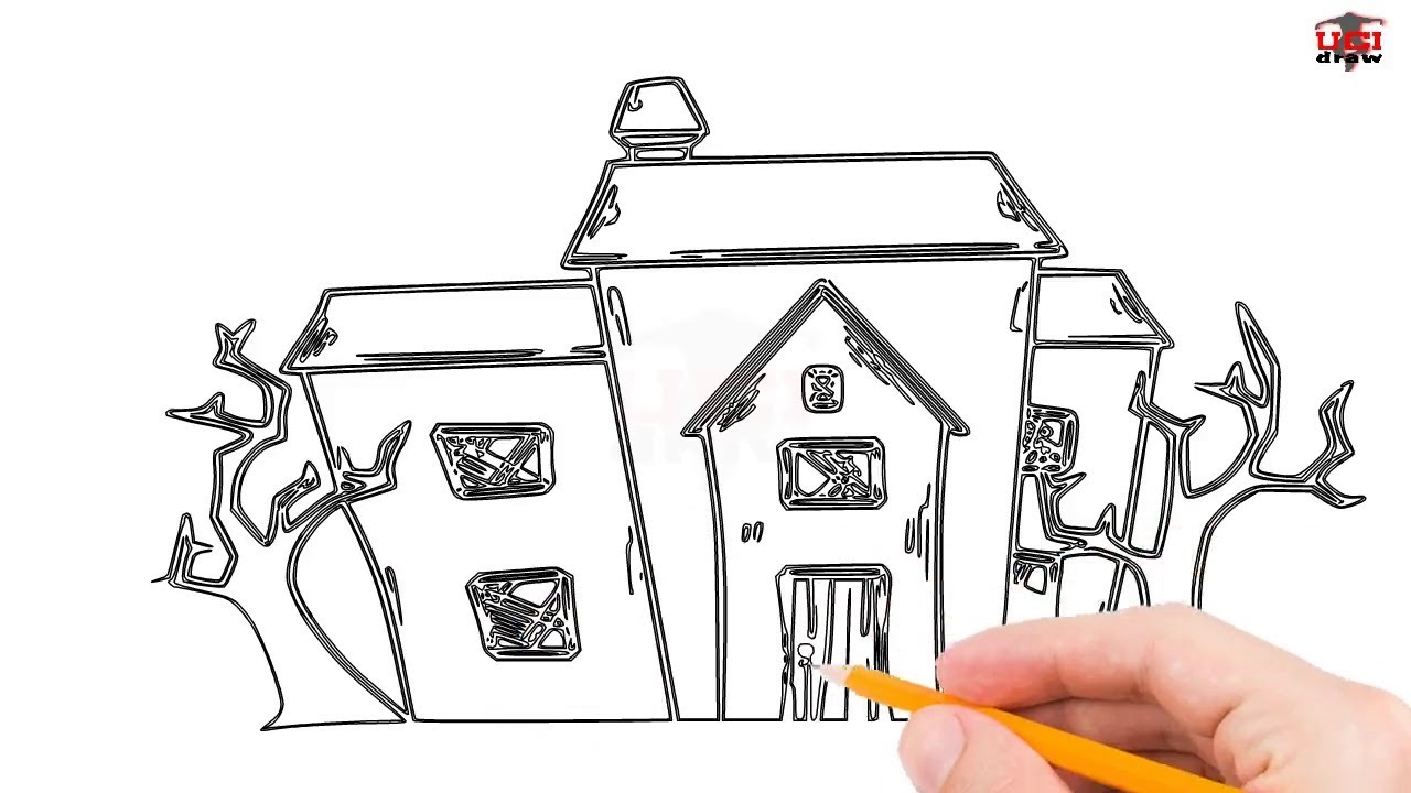 How To Draw A Haunted House Step By Step Easy For Beginners Kids