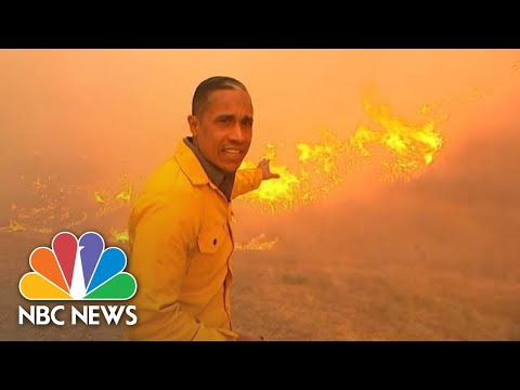 NBC News Correspondent Reports Alongside Flames | NBC News
