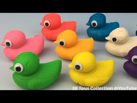 Play and Learn Colours with Play Dough Ducks Surprise Toys Mickey Mouse Peppa Pig Donald Duck