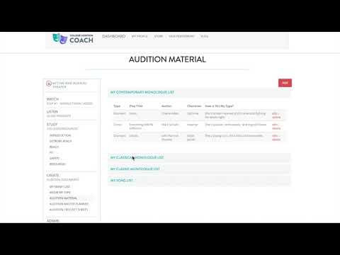 2019 NEW Acting/Musical Theatre Online Prep screen tutorial