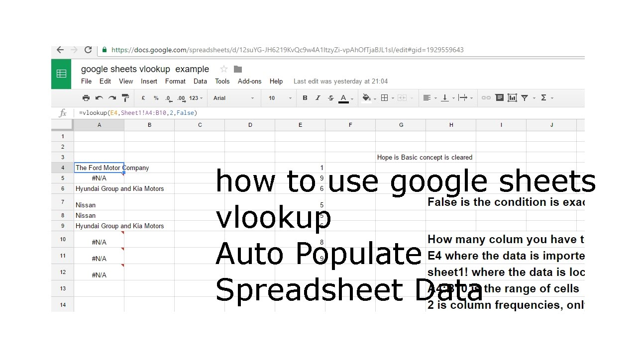 how to use google sheets vlookup Auto Populate Spreadsheet Data in Google  Sheets and Excel