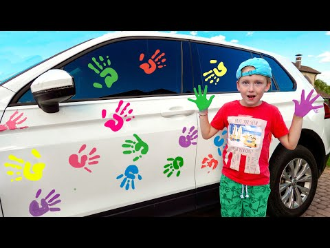 Eli Cleaning Car With Washing Toys And Goes To A Big Car Wash