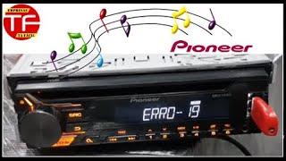 Configuração no aparelho de som Pioneer que não reproduz música no Usb , erro 19