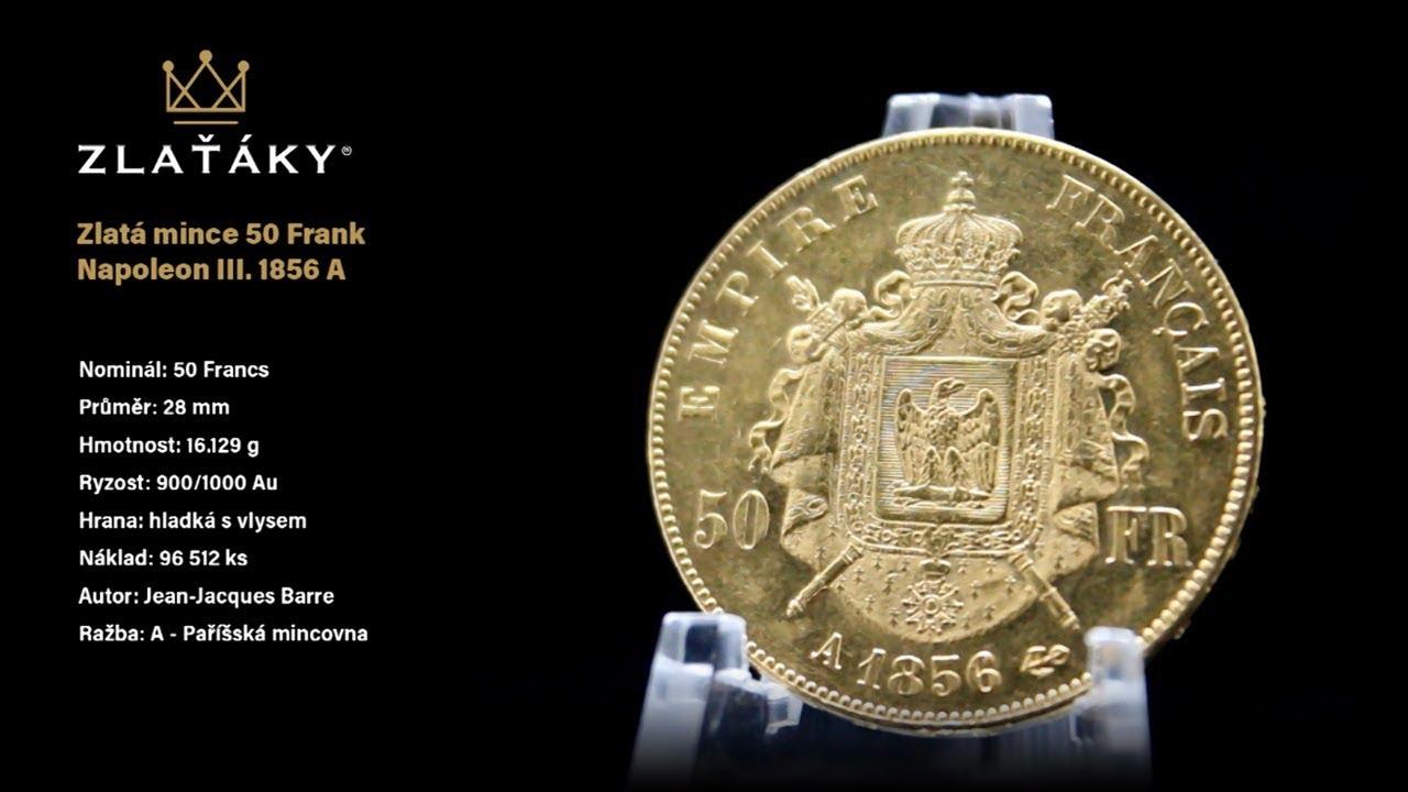 Zlatá mince 50 Frank Napoleon III  1856 A