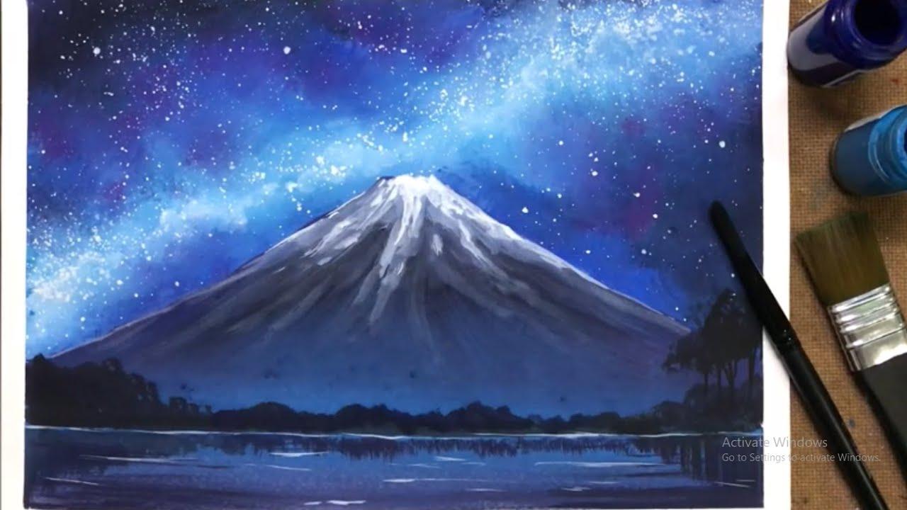 Ep 25 สอนวาดท วท ศน ภ เขาไฟฟ จ ตอนกลางค น Nighttime Fuji Painting Tutorial Youtube ท องฟ ายามค ำค น ศ ลปะสร างแรงบ นดาลใจ ประเทศญ ป น