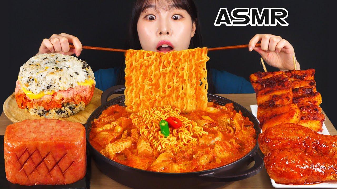 ASMR MUKBANG| 직접 만든 떡볶이 양념치킨 통스팸 먹방 & 레시피 FRIED CHICKEN AND Tteokbokki EATING