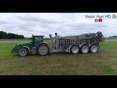 spreading manure - épandage de lisier/ John Deere 8360R & Sansom #champagne épandage