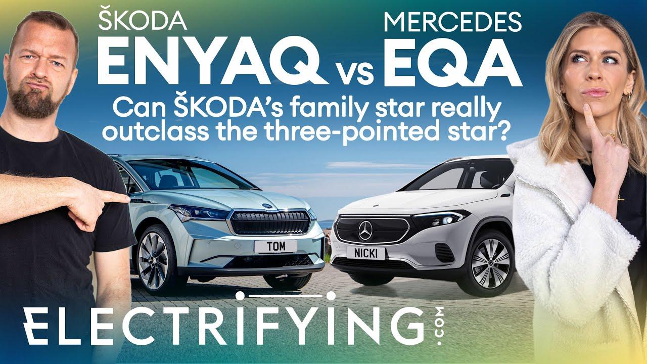 Skoda Enyaq iV vs Mercedes EQA electric SUV shoot-out / Electrifying