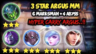 3 STAR ARGUS HYPER CARRY..!! 6 MM + 4 ABYSS. MAGIC CHESS MOBILE LEGENDS BANG BANG