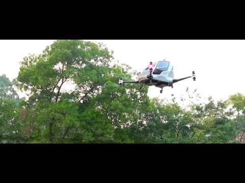 EHang - China EHang 184 Autonomous Aerial Vehicle Flight Testing [1080p]