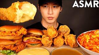 ASMR MUKBANG CHEESY FRIED CHICKEN &amp CHICKEN SANDWICH &amp DOUBLE CHEESEBURGER &amp SPAGHETTI (No Talking)