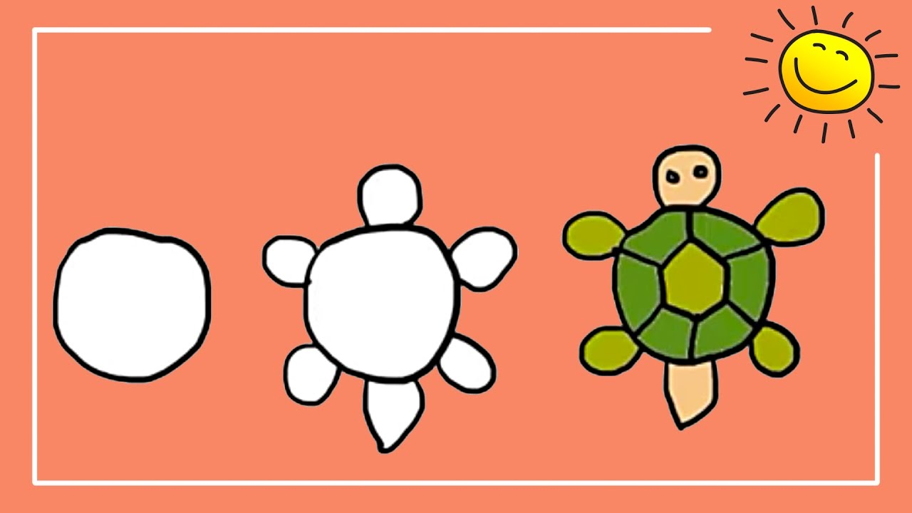 Coloring For Kids How to Draw and Color Cartoon Turtle for Kids