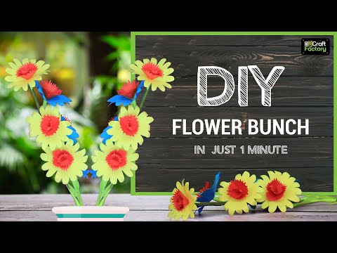 Paper flower bunch | flower bouquet | 1 minute easy craft tutorial | lil-Craft Factory