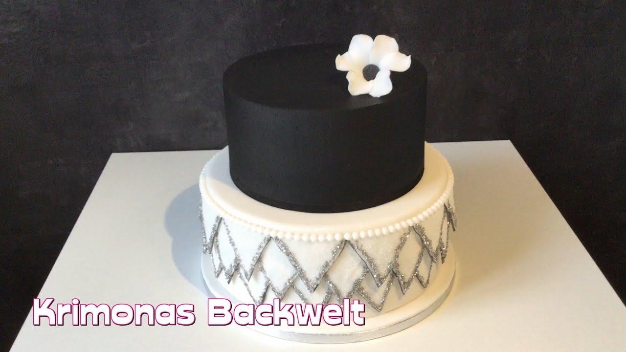 Zwanziger Jahre Vintage Gatsby Hochzeitstorte Mit Fondant Ruschen Wedding Cake Fondant Ruffels