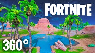 [360° Video] Fortnite VR Virtual Reality 360 degree Waterfall Zipline Fail Noob