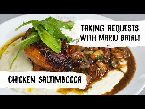 Mario Batali Cooks Chicken Saltimbocca with Creamy Cauliflower Fondue