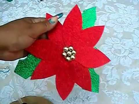 Como Hacer Una Flor De Nochebuena Con Sobrantes De Foami Youtube