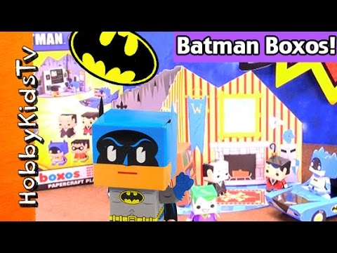 Papercraft Batman Boxos Funko Papercraft Kit! Fast Speed Assembly Robin Joker Bat Mobile by HobbyKidsTV