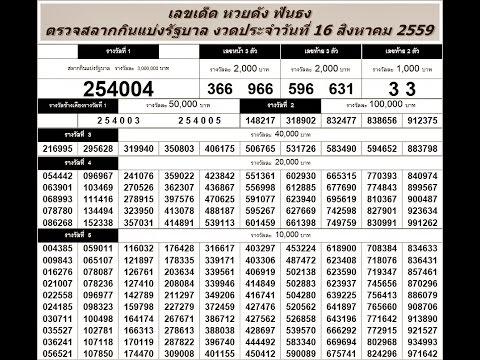 ตรวจหวย 16/8/59 ตรวจสลากกินแบ่งรัฐบาล วันที่ 16 สิงหาคม 2559