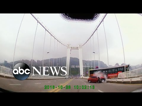 Video shows inside of bus in China before it fell off bridge