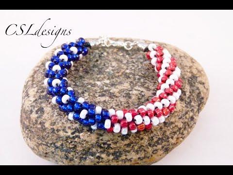 American Flag Beaded Kumihimo Bracelet