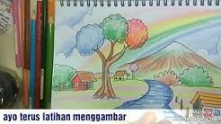 Gambar Pemandangan Dengan Pensil Warna Pemandangan Air