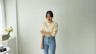 여자봄코디 연청데님팬츠 데일리니트 | 사색 쇼핑몰 촬영…