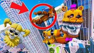 ANIMATRONICS DO THE BIGGEST WINGSUIT AIR STUNTS! (GTA 5 Mods For Kids FNAF Funny Moments)