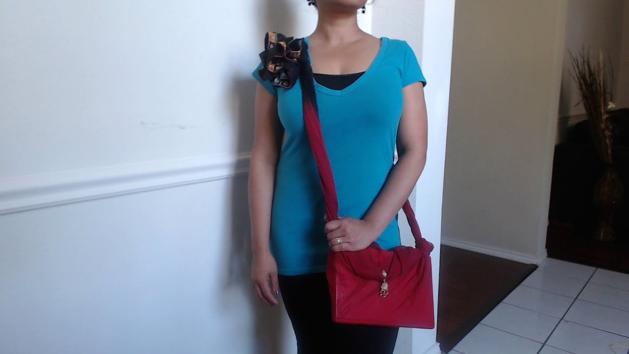 How to make no sew side sling bag with just a scarf - Request ...