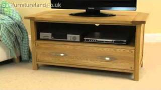 Newark Solid Oak Corner Tv / Vcr / Dvd Cabinet From Oak Furniture Land