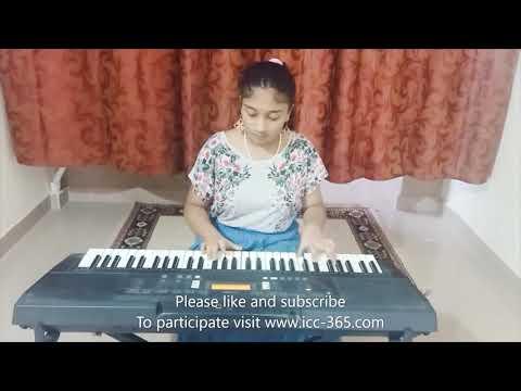 Playing piano by beautiful girl