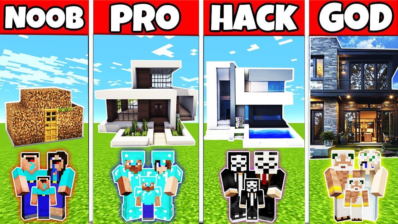 Minecraft: FAMILY MODERN BEAUTIFUL HOUSE BUILD CHALLENGE - NOOB vs PRO vs HACKER vs GOD in Minecraft