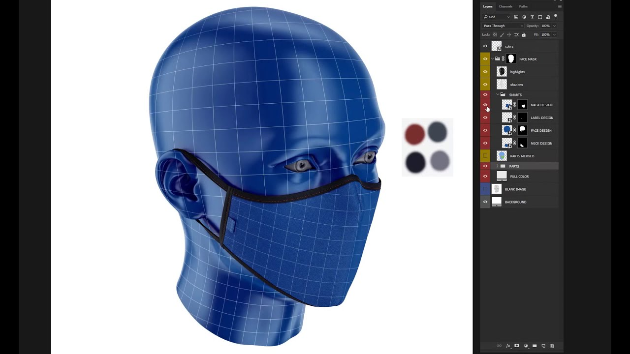 Face Mask Mockup Front View In Apparel Mockups On Yellow Images
