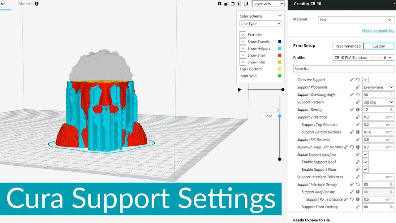 Cura Support Settings - PLA