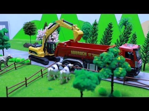 ของเล่นรถแม็คโครตักดินขุดสระ รถดั้ม รถบรรทุกดิน รถเกรด รถก่อสร้า Excavator and Dump truck Digger