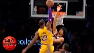 Jarrett Allen Destroys LeBron James with EPIC block | Lakers vs Nets