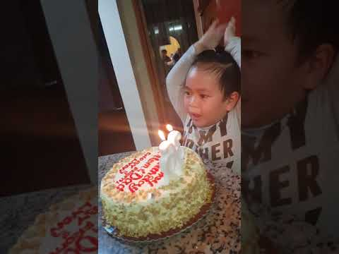 Funny Baby Blowing Birthday Cake 3yr Old Sings Happy