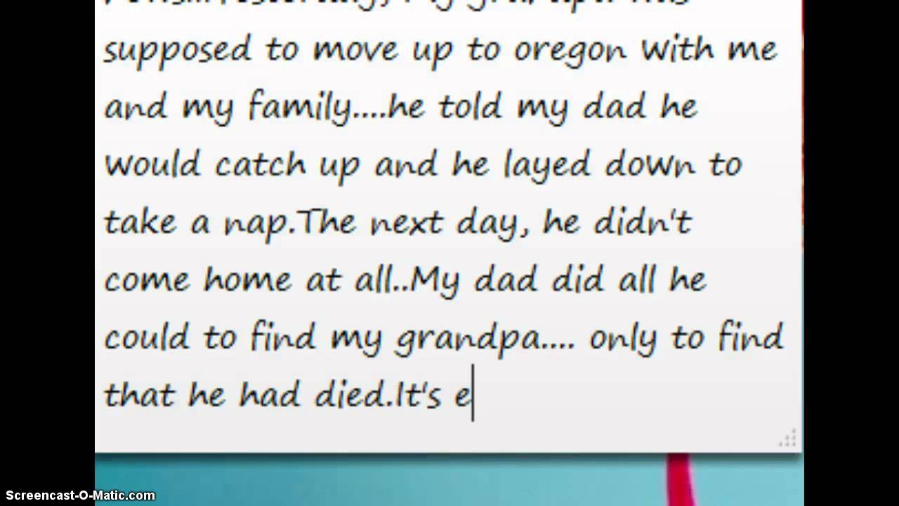 my grandfathers death Death is a natural step in life both dealing with the death of my grandfather just died where can i find him this year even i lost my grandfather.