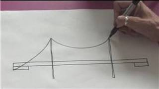 When drawing a suspension bridge, all that is needed is a sketchbook, some black markers and a good eye for angles and