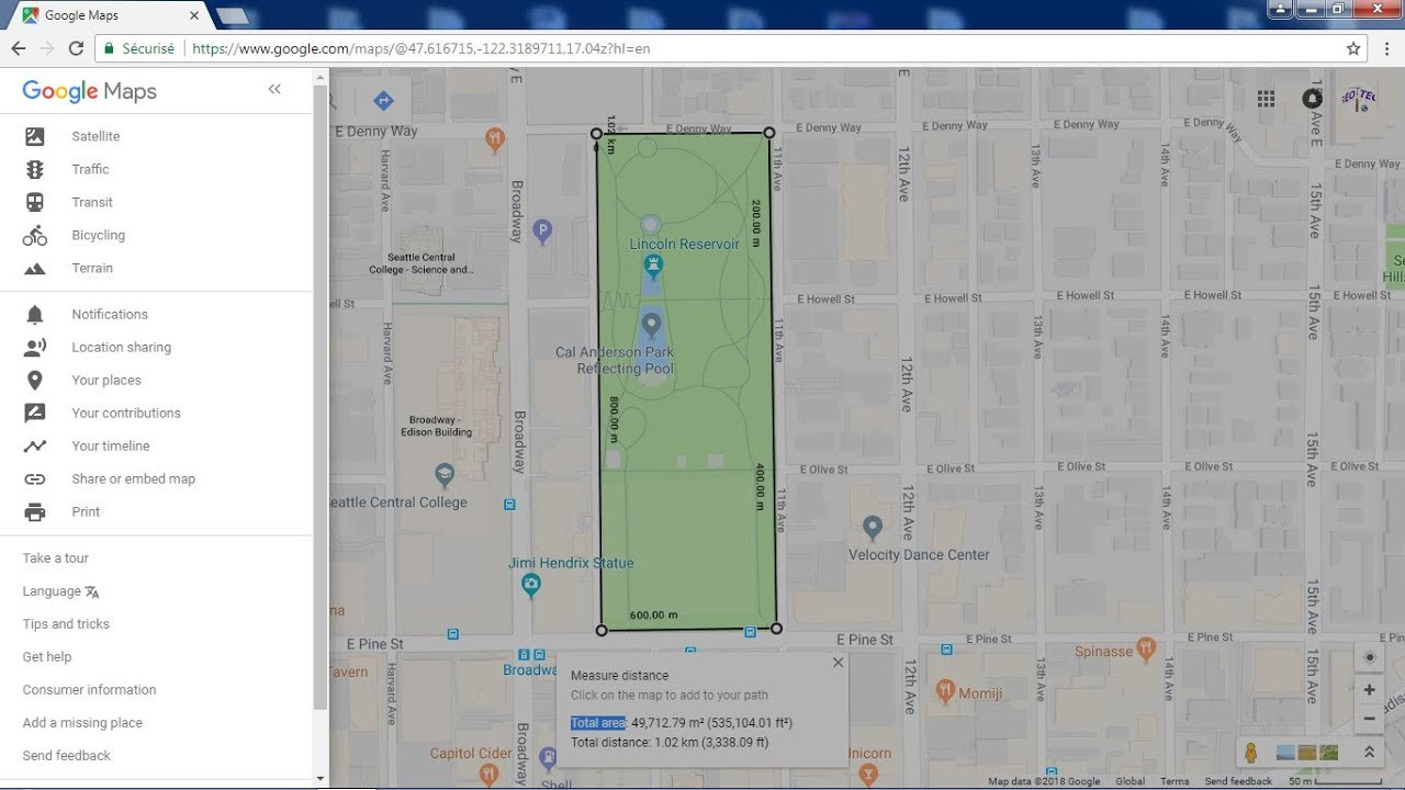 Acre Measure Map How to measure distance and area on google maps   YouTube