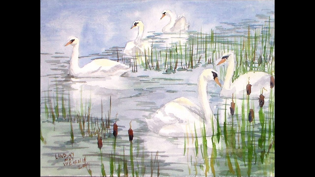Swan scene watercolor tutorial youtube for Watercolor scenes beginners