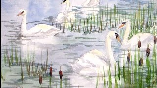 swan scene watercolor tutorial