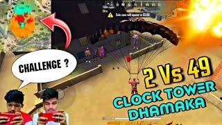 FREEFIRE || CLOCK TOWER MAI  DHAMAKA || 2 TSG VS 49 PRO PLAYERS || MOST EPIC TEAMWORK ENDING ||