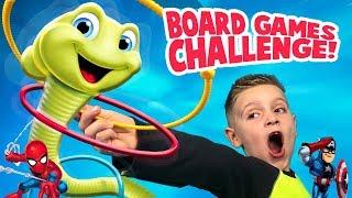 Kid vs Kid Board Games Challenge! Wobbly Worm Spiderman and Greedy Granny!